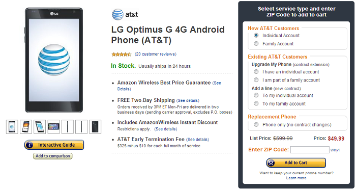 Amazon Wireless Drops Price of AT&T LG Optimus G to $49.99 [Deal Alert]