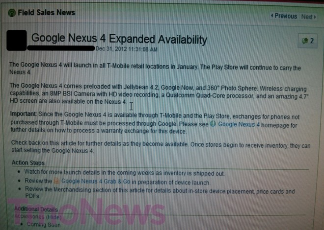 T-Mobile Expanding Retail Store Availablitly of the Nexus 4 This Month