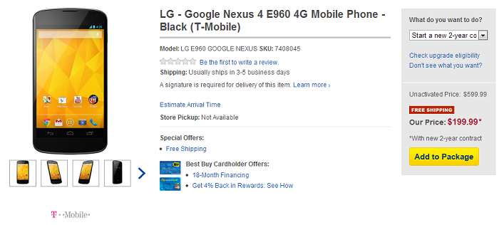 Best Buy now Selling T-Mobile Nexus 4 Devices Online