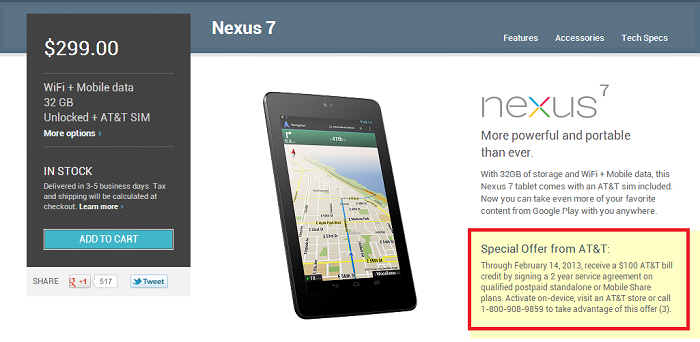 Receive $100 bill Credit When Activating a HSPA+ Nexus 7 on AT&T