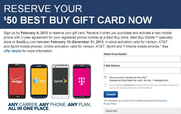 Sign up by February 9, 2013 to Reserve Your $50 Best Buy Gift Card