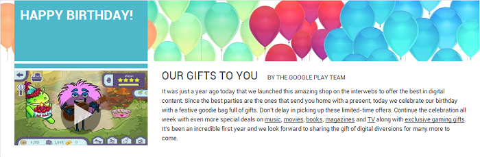 Happy 1st Birthday Google Play!